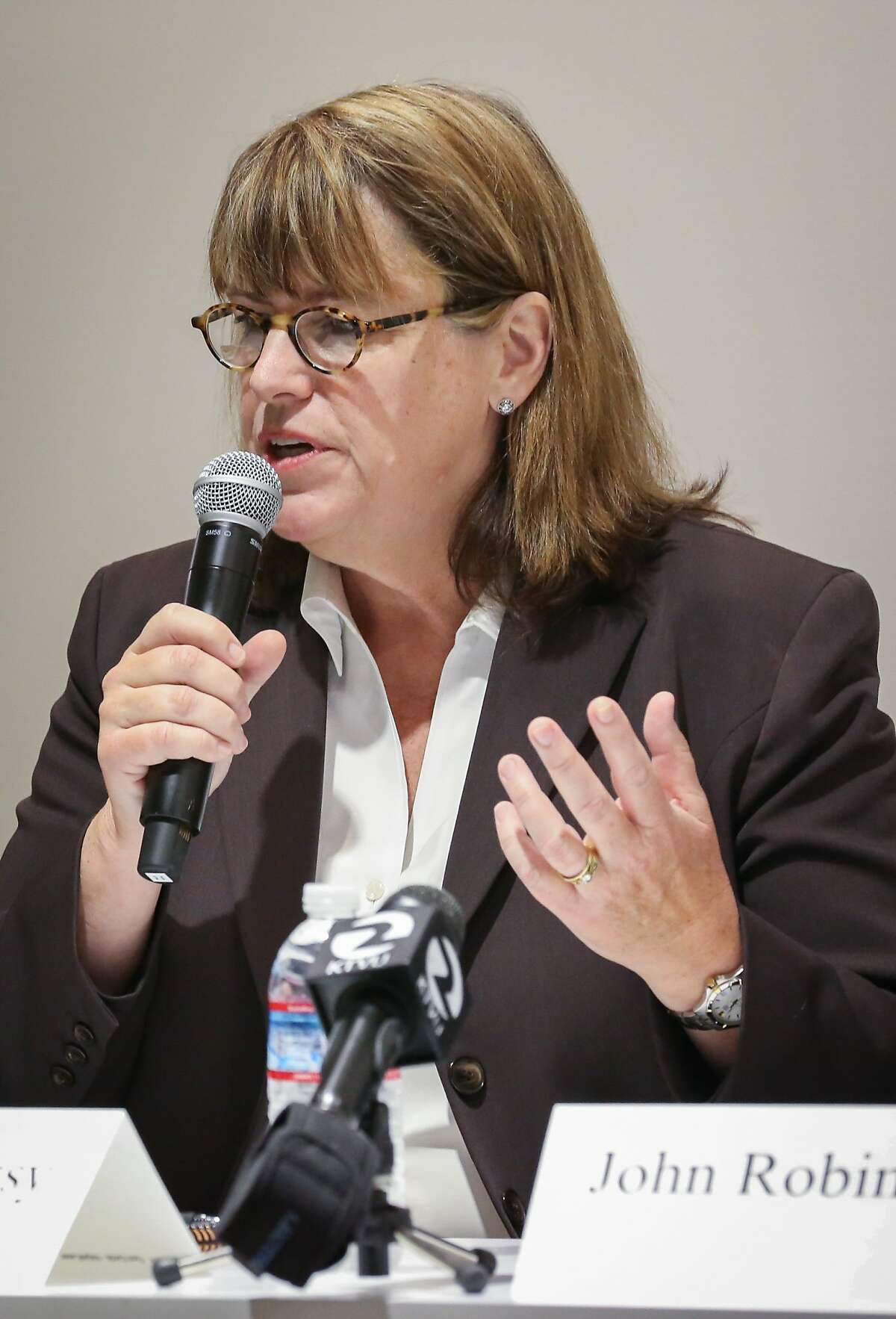 Sheriff candidate Vicki Hennessy responds to a question during the debate against current sheriff Ross Mirkarimi and candidate John Robinson at Zendesk on Tuesday, August 11, 2015 in San Francisco, Calif.