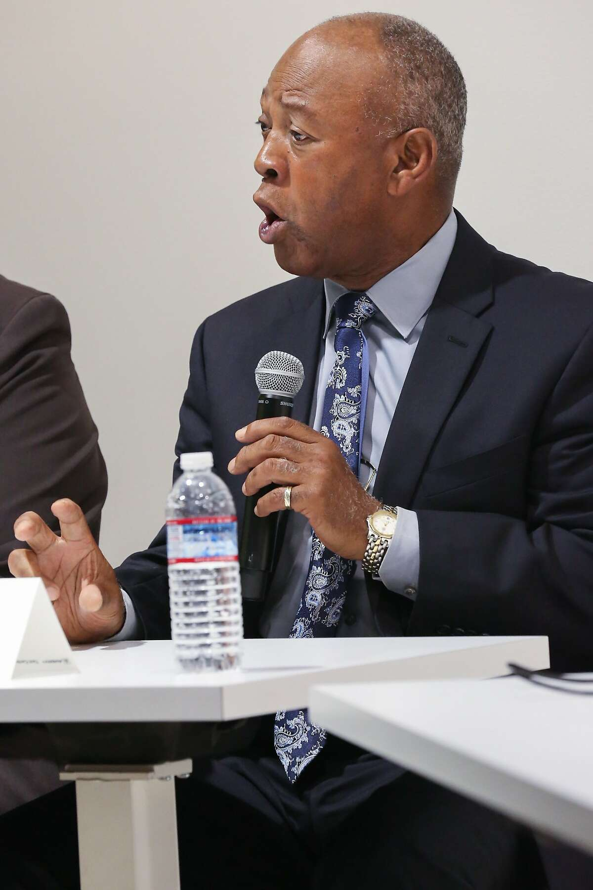 Sheriff candidate John Robinson responds to a question during the debate against current sheriff Ross Mirkarimi and candidate Vicki Hennessy at Zendesk on Tuesday, August 11, 2015 in San Francisco, Calif.