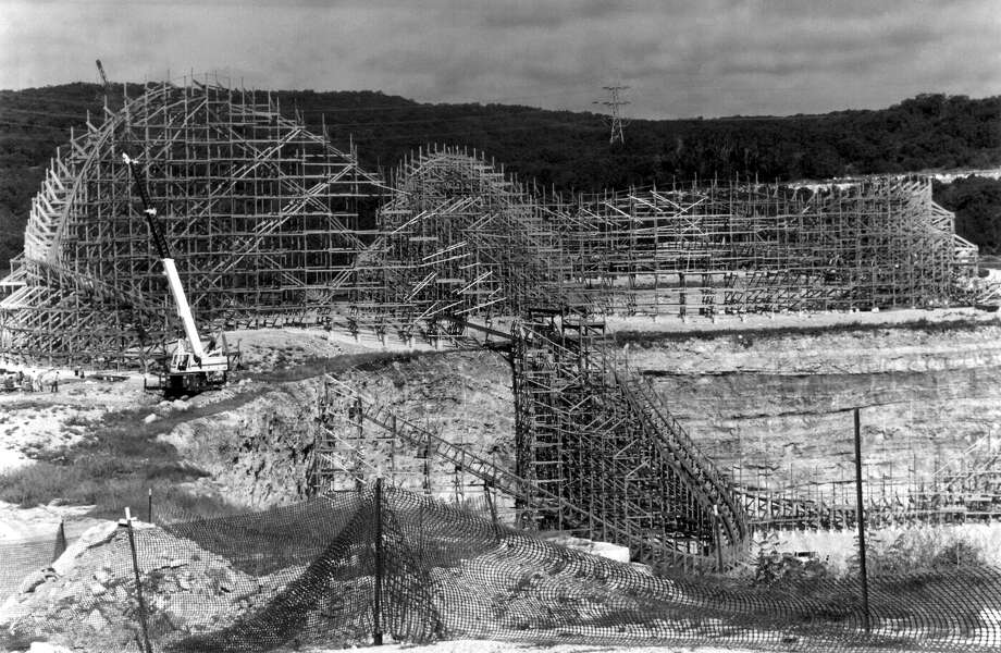 The Rattler roller coaster at Six Flags Fiesta Texas was under construction, and hadn't officially been named, when this photo was taken in September 1991. Photo: Express-News File Photo / SAN ANTONIO EXPRESS-NEWS