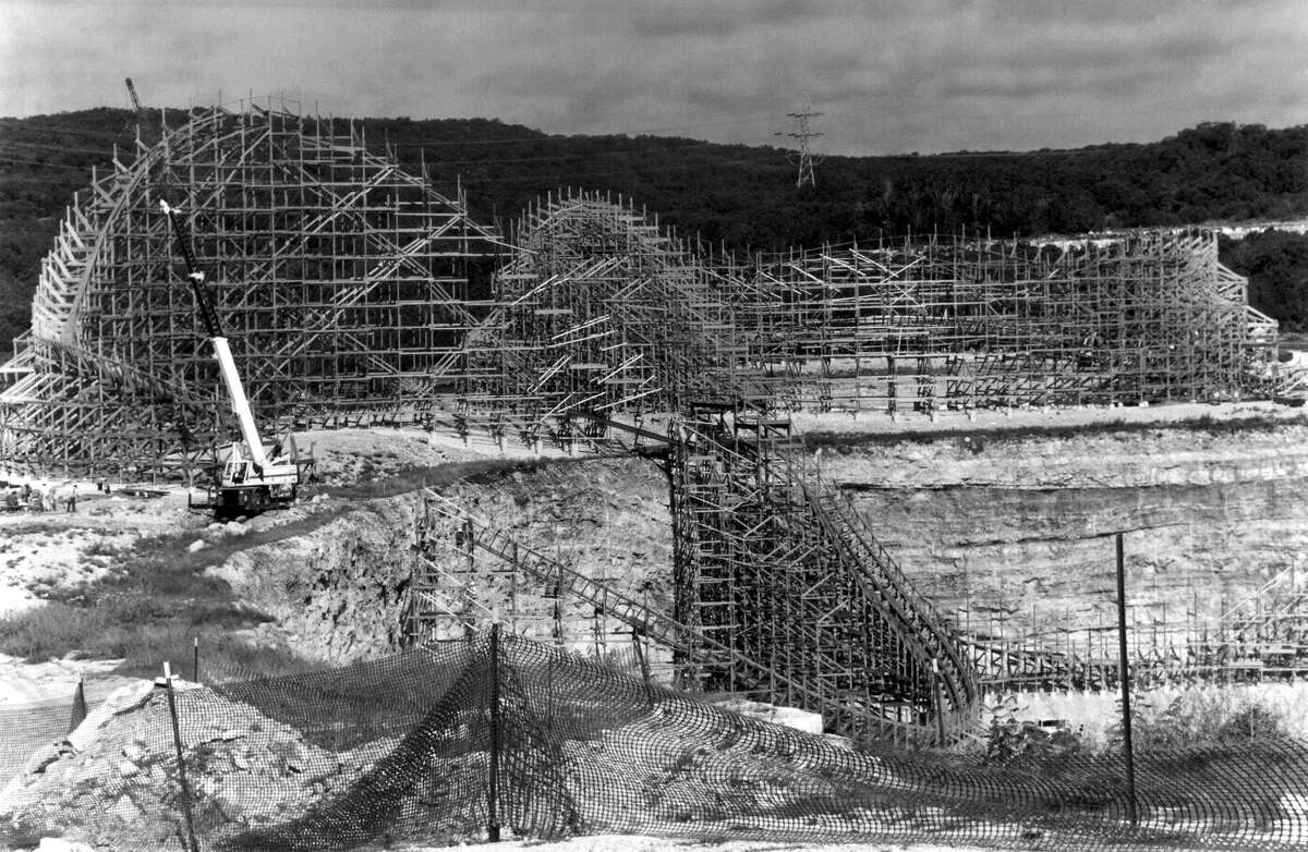 The Rattler roller coaster at Six Flags Fiesta Texas was under construction, and hadn't officially been named, when this photo was taken in September 1991.