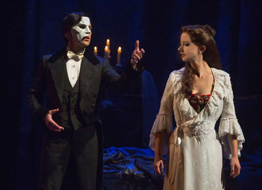 "Katie Travis (right)  as Christine Daae and Chris Mann as the Phantom in the North American tour of ""The Phantom of the Opera""  NOTE: Daae takes accent / over the e Photo: Matthew Murphy"