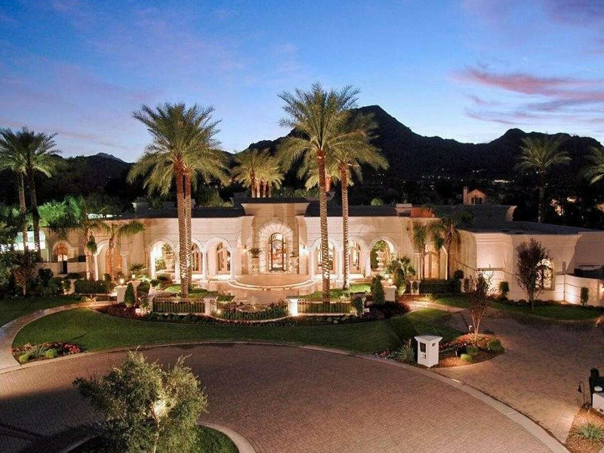 9. 6347 East Royal Palm Road, Paradise Valley, Arizona ($40,000 per month) Sitting on approximately 1.8 acres of land, this Mediterranean estate resembles a five-star resort. Among the home's highlights are Swarovski crystal doorknobs, a 3,000-square-foot master suite (with a makeup room, massage room, and gym), two libraries, a tennis court, and a luxurious outdoor living area with mountain views. According to the listing, the property can be purchased for $7.295 million. See the listing for more photos and information