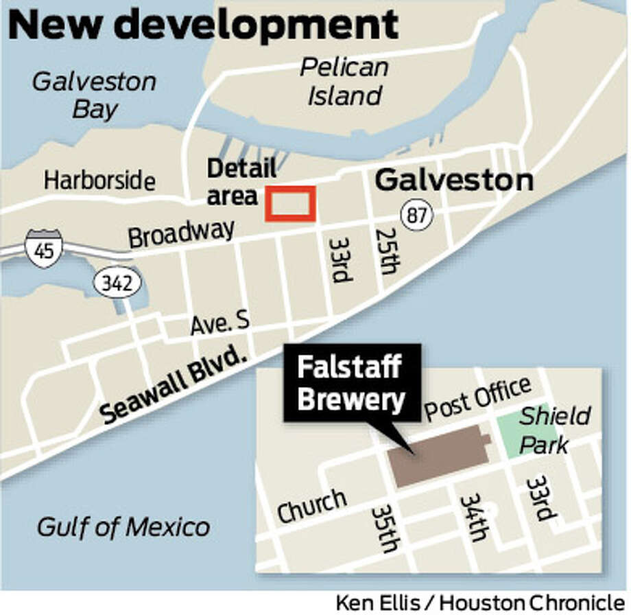 Spotter map showing site of old Falstaff Brewery in Galveston set for redevelopment