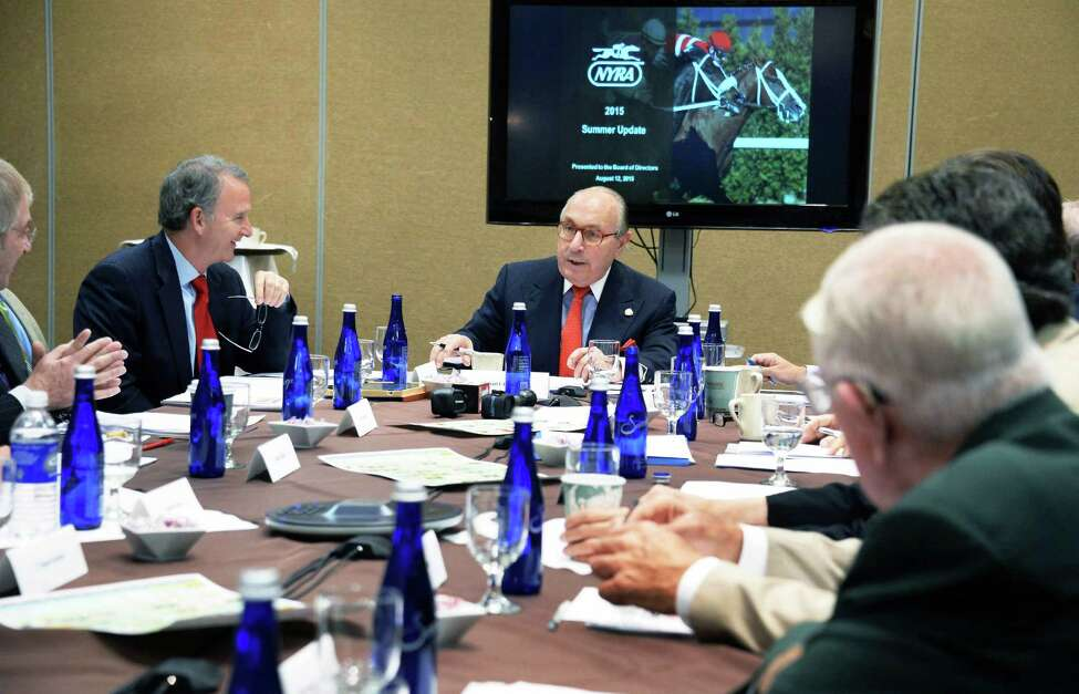 Vice Chairman Michael J. Del Giudice, center, chairs a NYRA board meeting at the Holiday Inn Wednesday August 12, 2015 in Saratoga Springs, NY. (John Carl D'Annibale / Times Union)