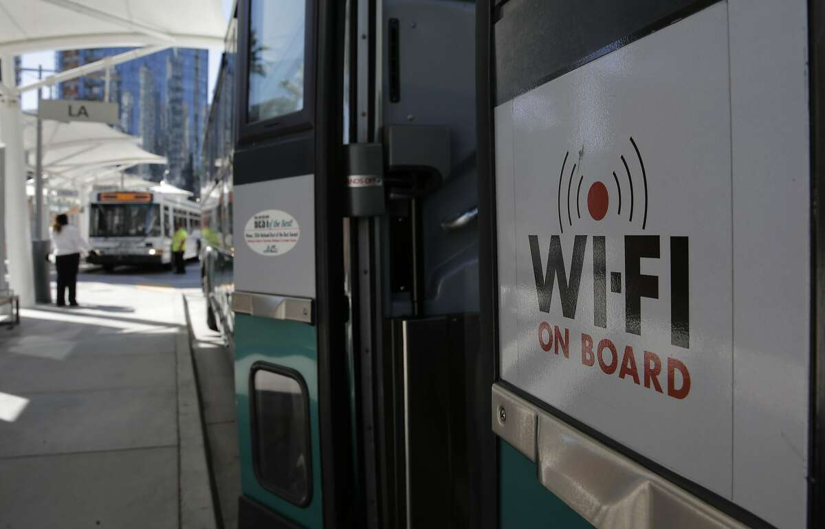 A Wi-Fi enabled A/C transit bus pulls into the Transbay Terminal in San Francisco, Calif., on Wed. August 12, 2015.