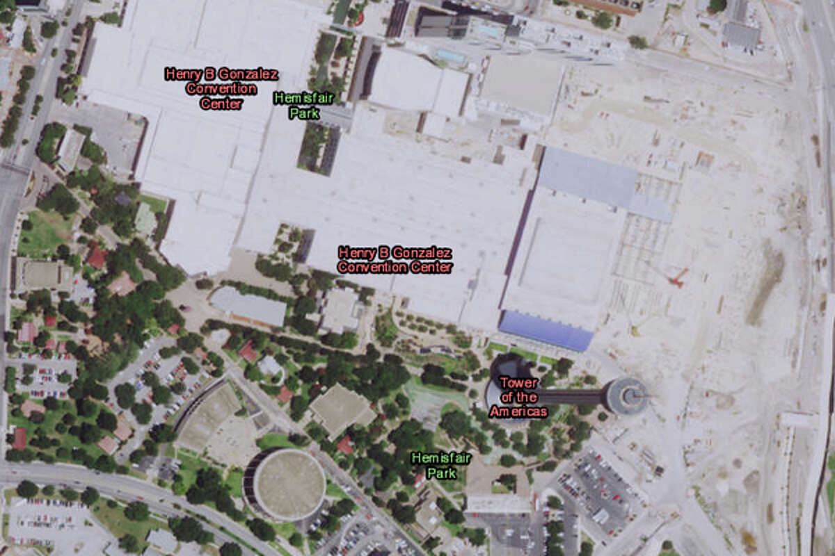 This is the downtown San Antonio Hemisfair area as we know it today, but placing a historical magnifying glass over it reveals how it looked in 1895.