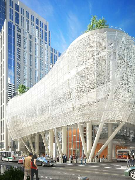 The final design -- as of July, 2015 -- of the exterior of the Transbay Transit Center, set to open in 2017. Photo: Pelli Clarke Pelli Architects