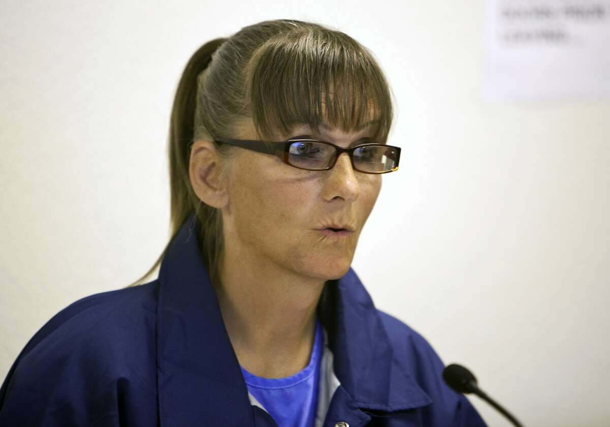 FILE - In this May 21, 2015, file photo, inmate Michelle-Lael Norsworthy speaks during her parole hearing at Mule Creek State Prison in Ione, Calif. Norsworthy, a transgender inmate who had been trying to force California to become the first state to pay for a prisoner's sex reassignment surgery, was granted parole and released from Mule Creek State Prison, Wednesday, Aug. 12, 2015. (AP Photo/Steve Yeater,File)