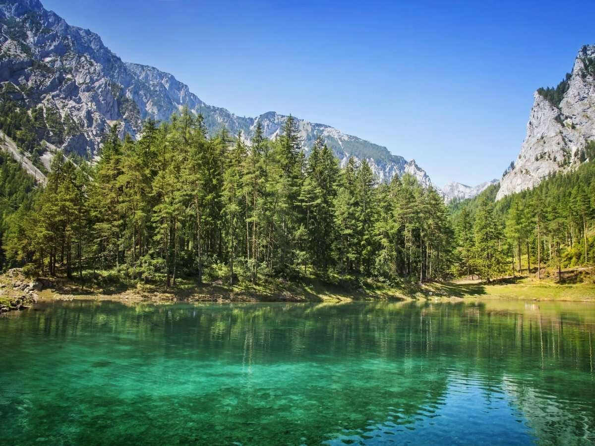 Grüner See (Green Lake), located below Austria's Hochschwab mountains near the town of Tragoess, seems like just another lake at first glance... Source: Huffington Post