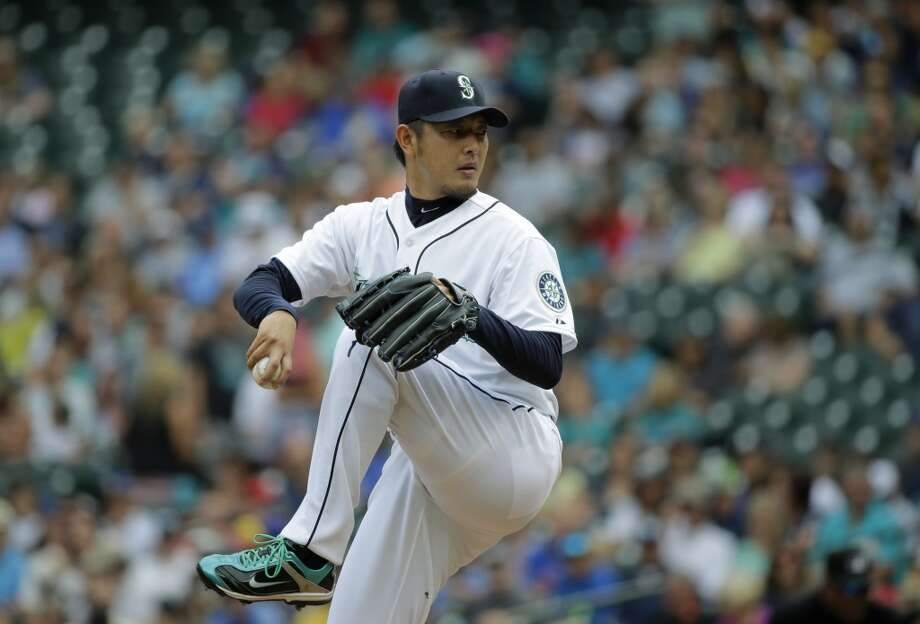 No-hitters:Randy Johnson – June 2, 1990Chris Bosio – April 22, 1993Six pitchers – June 8, 2012Felix Hernandez – Aug. 15, 2012 (perfect game)Hisashi Iwakuma – Aug. 12, 2015Iwakuma wrote his own chapter in Mariners' history on Wednesday with the fifth no-no in club history. Iwakuma struck out seven and walked just three in 116 pitches, becoming only the second Japanese-born player to record a no-hitter and the oldest player to notch a no-no since Johnson threw his perfect game with Arizona in 2004. Photo: Ted S. Warren, AP
