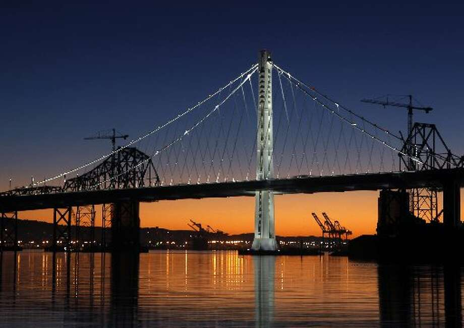 Eastern span of Bay Bridge at dawn.