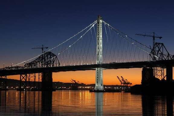 Eastern span of Bay Bridge at dawn.