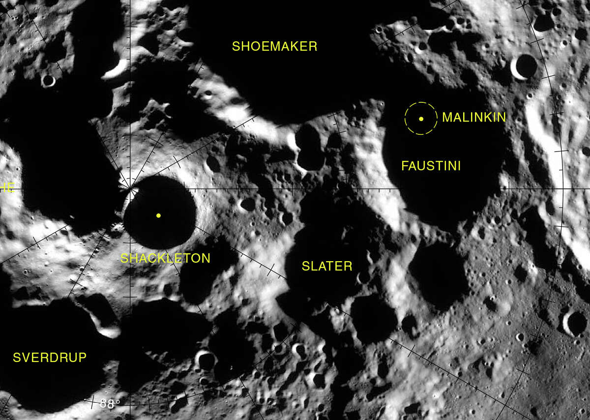 The Slater crater (center) is located very close to the Moon's south pole, which is near the Shackleton crater. The Slater crater's interior is permanently in shadow.