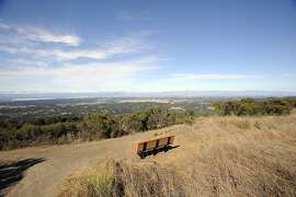 A bench sits at the top of Windy Hill at the Windy Hill Open Preserve in Portola Valley, CA Monday, August 10, 2015.