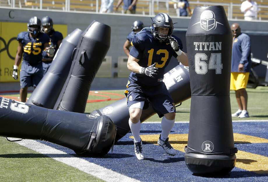 Cal Berkeley's defensive end Kyle Kragen,13 runs drills during practice at Memorial Stadium in Berkeley, Calif., on Wed. August 12, 2015. Photo: Michael Macor, The Chronicle