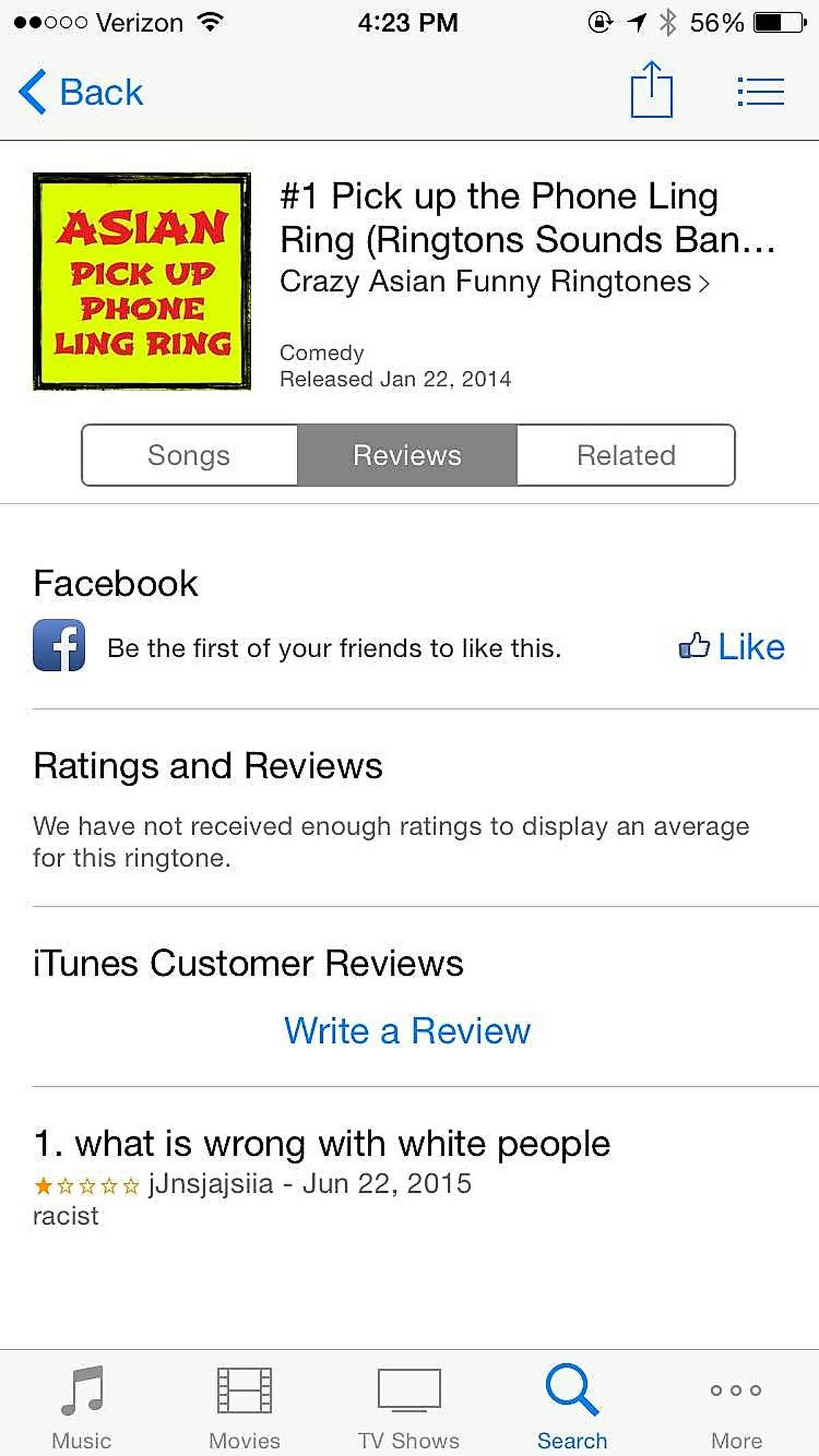 """A screenshot of the ringtone, """"#1 Pick up the Phone Ling Ring,"""" which was available for purchase on iTunes since Jan. 22, 2014. Apple's terms of use prohibit discriminatory ringtones, however many, like this, were allowed to exist unchecked for years. Apple removed dozens of offensive ringtones after a call from the San Francisco Chronicle this week."""