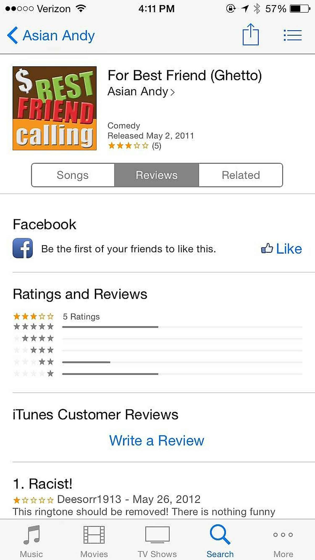 """A screenshot of the ringtone, """"For Best Friend (Ghetto),"""" which was available for purchase on iTunes since May 2, 2011. Apple's terms of use prohibit discriminatory ringtones, however many, like this, were allowed to exist unchecked for years. Apple removed dozens of offensive ringtones after a call from the San Francisco Chronicle this week."""