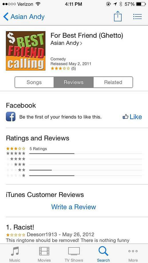 "A screenshot of the ringtone, ""For Best Friend (Ghetto),"" which was available for purchase on iTunes since May 2, 2011. Apple's terms of use prohibit discriminatory ringtones, however many, like this, were allowed to exist unchecked for years. Apple removed dozens of offensive ringtones after a call from the San Francisco Chronicle this week. Photo: Marissa Lang"