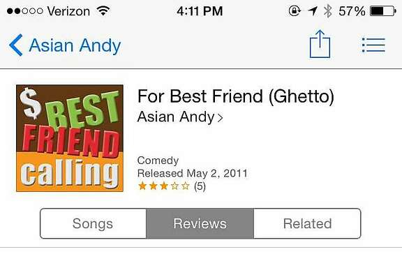 "A screenshot of the ringtone, ""For Best Friend (Ghetto),"" which was available for purchase on iTunes since May 2, 2011. Apple's terms of use prohibit discriminatory ringtones, however many, like this, were allowed to exist unchecked for years. Apple removed dozens of offensive ringtones after a call from the San Francisco Chronicle this week."