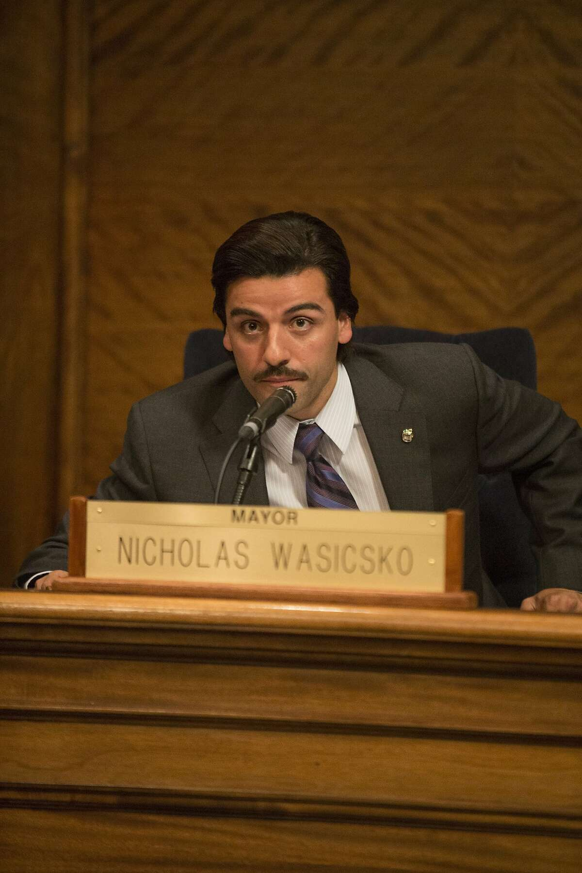 "Oscar Isaac portrays Yonkers Mayor Nick Wasicsko in HBO's ""Show Me a Hero."""
