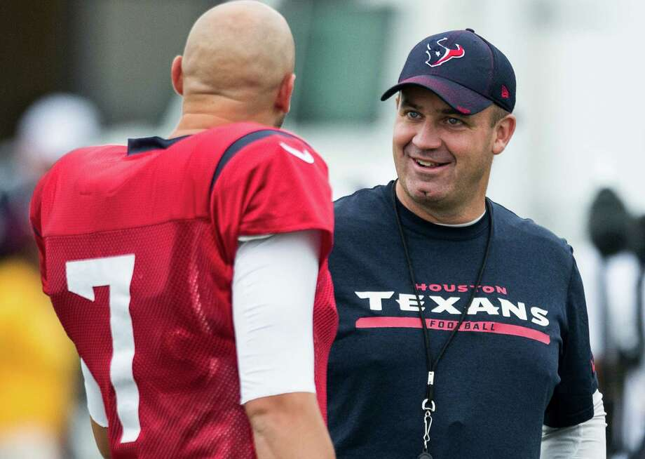 Houston Texans head coach Bill O'Brien talks to Brian Hoyer (7) during Texans training camp with the Washington Redskins at the Bon Secours Training Center on Aug. 7, 2015, in Richmond, Va. Photo: Brett Coomer /Houston Chronicle / © 2015 Houston Chronicle