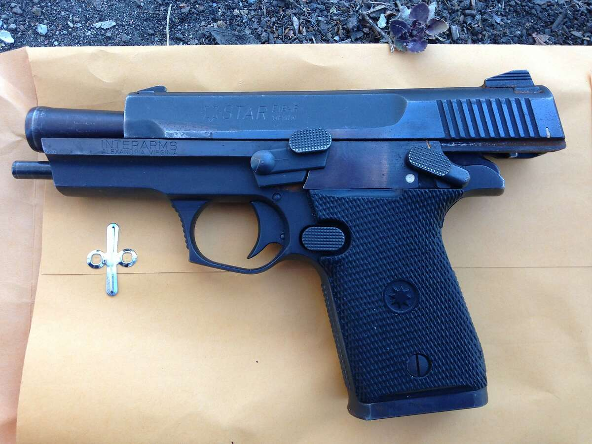 Oakland police said a robbery suspect was armed with this loaded, stolen 9mm semiautomatic handgun when officers shot and killed him near 27th Street and Martin Luther King Jr. Way.