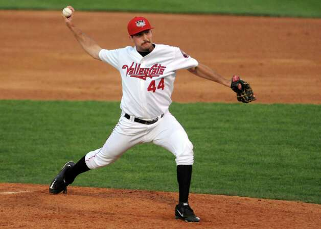 ValleyCats pitcher Chris Murphy deals a pitch during their game against the Auburn Doubledays at Joe Bruno Stadium on Wednesday Aug. 12, 2015 in Troy, N.Y. (Michael P. Farrell/Times Union) Photo: Michael P. Farrell / 10032902A