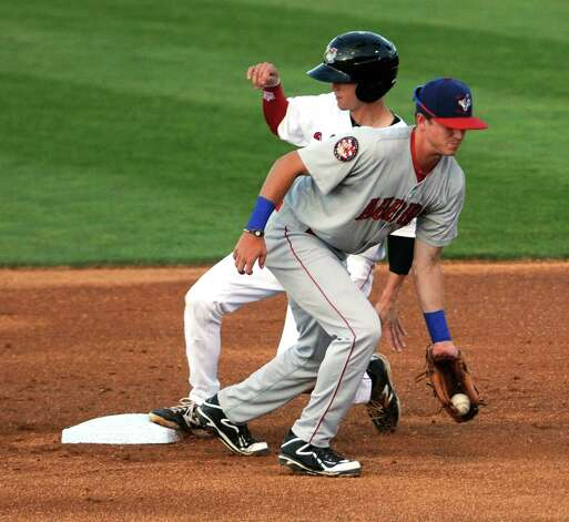ValleyCats center fielder Johnny Sewald beats the throw to second during their game against the Auburn Doubledays at Joe Bruno Stadium on Wednesday Aug. 12, 2015 in Troy, N.Y. (Michael P. Farrell/Times Union) Photo: Michael P. Farrell / 10032902A