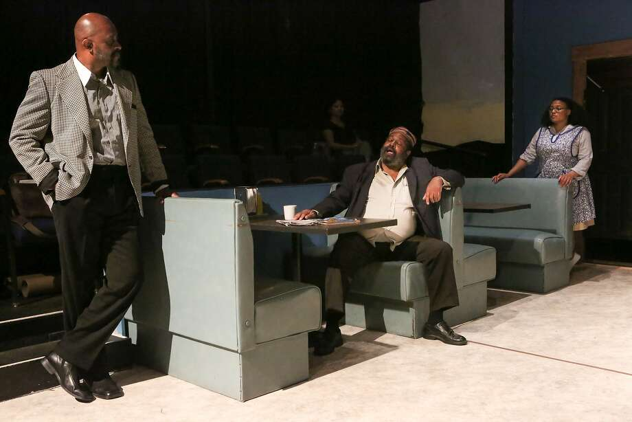 """Fabian Herd (left) as Wolf, Stuart Elwyn Hall as Holloway, and Beverly McGriff as Risa in """"Two Trains Running"""" at the Gough Street Playhouse in San Francisco. Photo: Amy Osborne, Special To The Chronicle"""