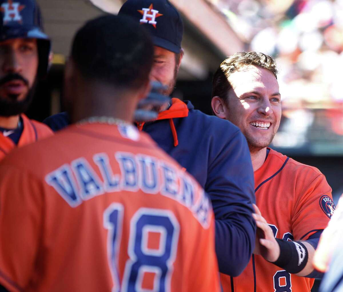 Shortstop Jed Lowrie, right, gave the Astros more than enough insurance with a solo home run in the eighth inning to extend the lead, and ultimately the final score, to 2-0 against the Giants on Wednesday in San Francisco.