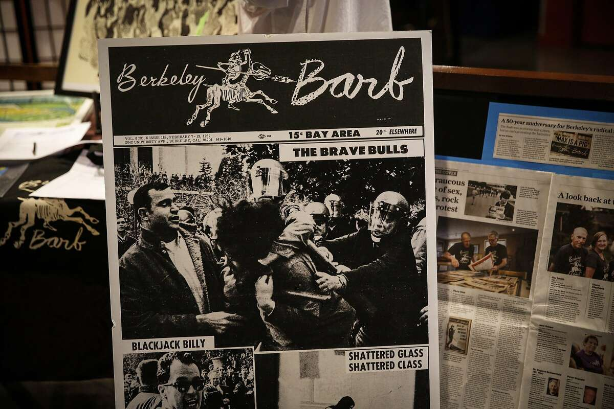 A reproduction of an issue of the Berkeley Barb newspaper is seen at a private reception hosted at the Freight & Salvage Coffeehouse celebrating the 50th anniversary of the 1960s underground publication Wednesday, Aug. 12, 2015.
