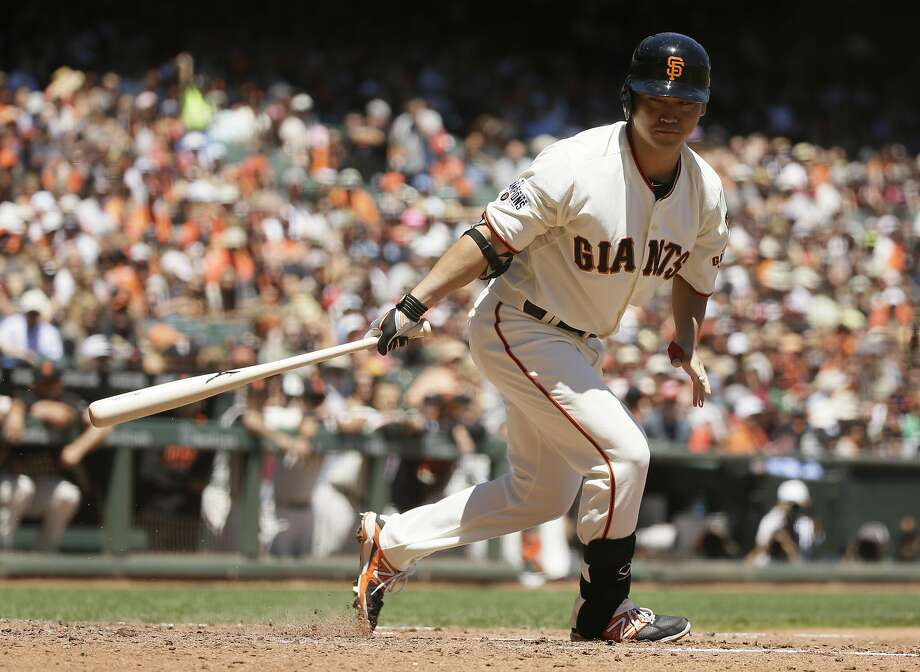 San Francisco Giants' Nori Aoki at bat in the third inning of their baseball game against the Houston Astros Wednesday, Aug. 12, 2015, in San Francisco. (AP Photo/Eric Risberg) Photo: Eric Risberg, Associated Press