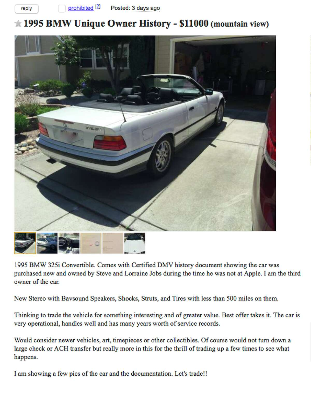 Want To Buy Steve Jobs Old Car It S On Craigslist