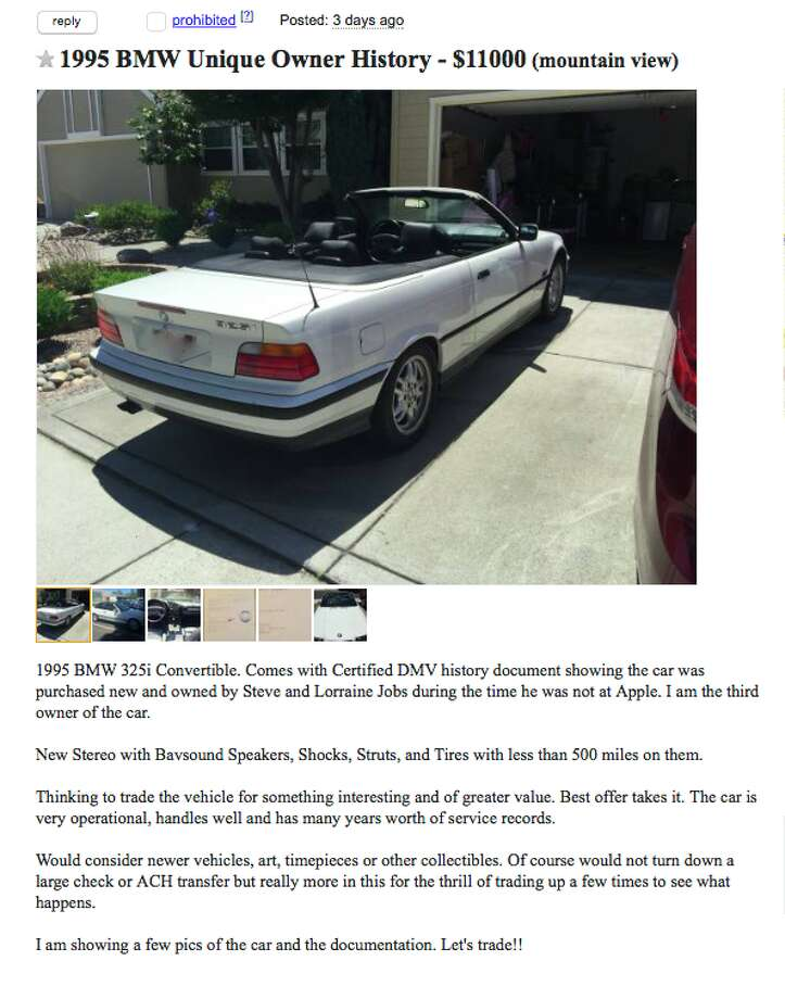 Steve Jobs was supposedly the original owner of a 1995 BMW convertible listed on Craigslist for $11,000.