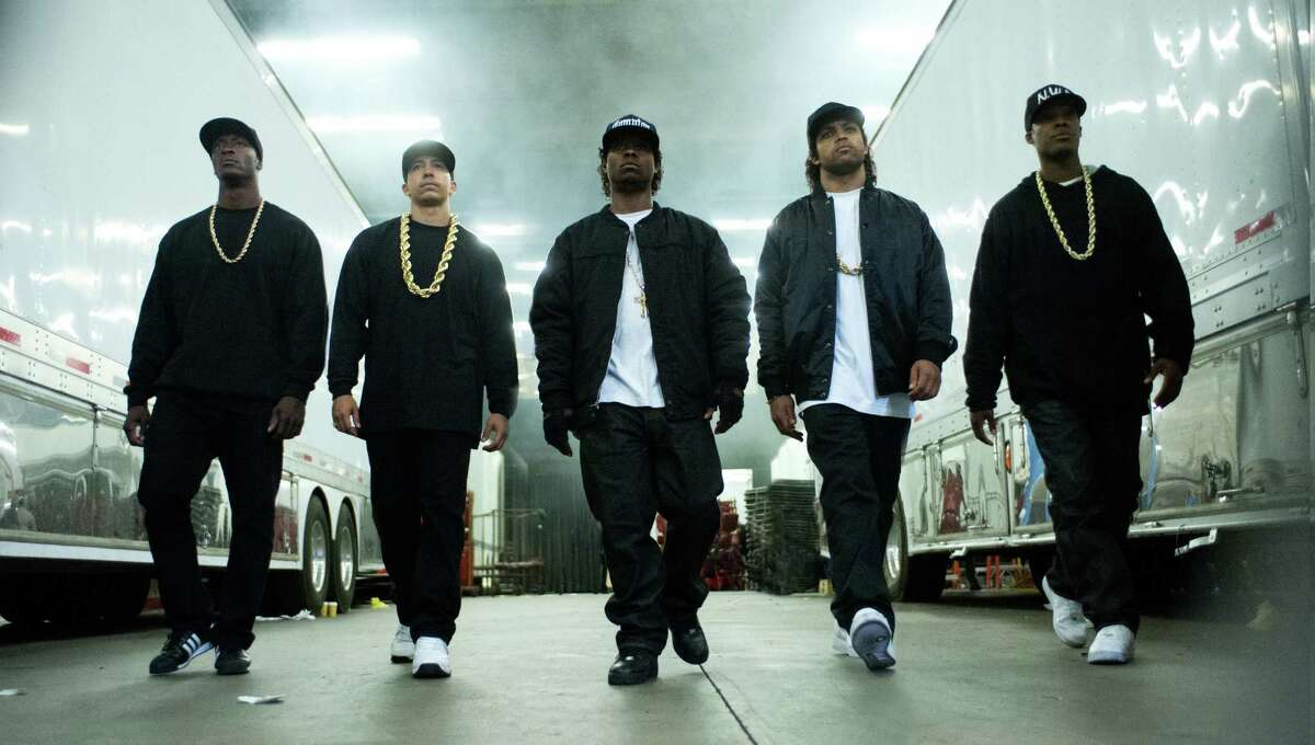 """Aldis Hodge, from left, as MC Ren, Neil Brown Jr. as DJ Yella, Jason Mitchell as Eazy-E, O'Shea Jackson Jr. as Ice Cube and Corey Hawkins as Dr. Dre star in N.W.A biopic """"Straight Outta Compton."""""""