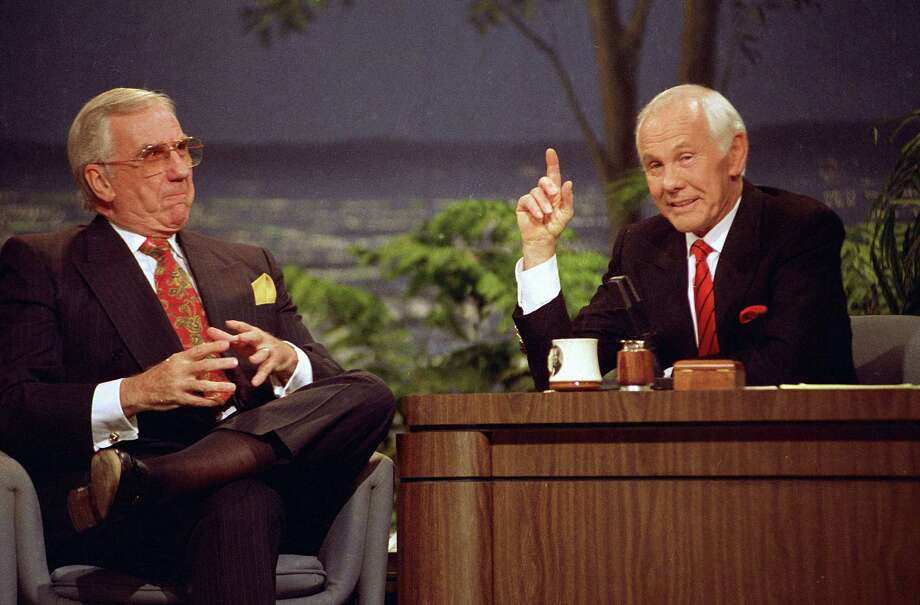 """Johnny Carson, right, appears with the show's announcer Ed McMahon during the final taping of the """"Tonight Show"""" in Burbank, Calif., in 1992. Photo: Douglas C. Pizac, STF / AP"""