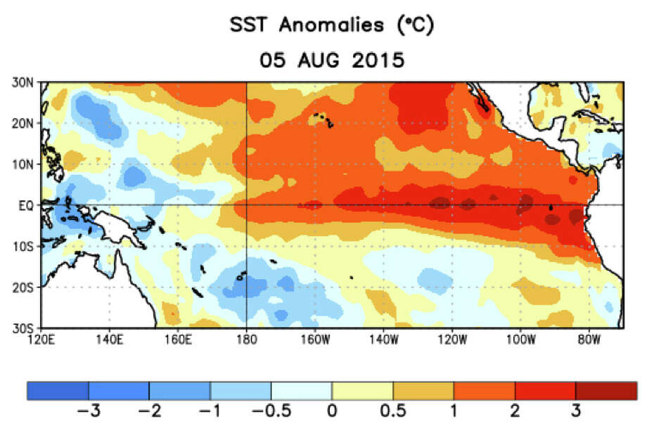 Average Pacifc Ocean sea surface temperature anomalies (°C) for the week of August 5th. Anomalies are computed with respect to the 1981-2010 base period weekly means. In their latest El Niño Advisory, the National Weather Service predicted a greater than 90% chance that El Niño will affect the Northern Hemisphere this winter. Photo: NOAA