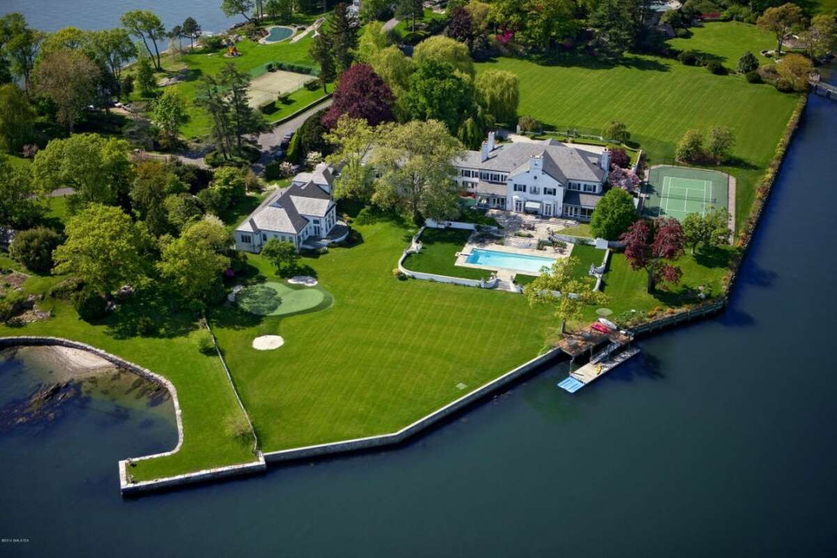 The former weekend home of real estate mogul Donald Trump is on the market for $54 million. Located in Greenwich, Connecticut, the six-acre estate holds a ginormous 19,773-square-foot home with eight bedrooms and 11.5 bathrooms, according to Zillow.