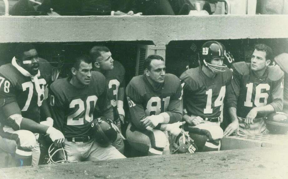 New York Giants Andy Robustelli (No. 81), Y.A. Tittle (No. 14), and Frank Gifford (No. 16). Robustelli, who lived in Stamford, and Gifford, who lived in Greenwich, remained friends after their playing days ended in the 1960s. Photo: Contributed Photo / Stamford Advocate Contributed