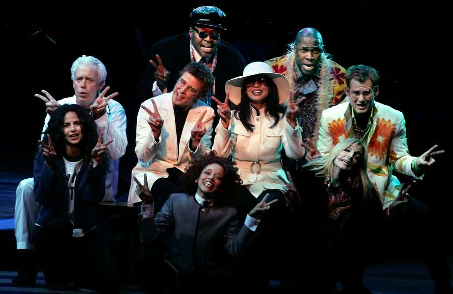 """Marcy Harriell, Mandy Gonzalez, Terrence Mann, Michael Potts, Chuck Cooper, Chad  Kimball and Julia Murney, perform in the World premiere of major Broadway-bound new musical """"Lennon"""" about life and art of John Lennon at the Orpheum Theatre. Photo: Kat Wade, SFC"""