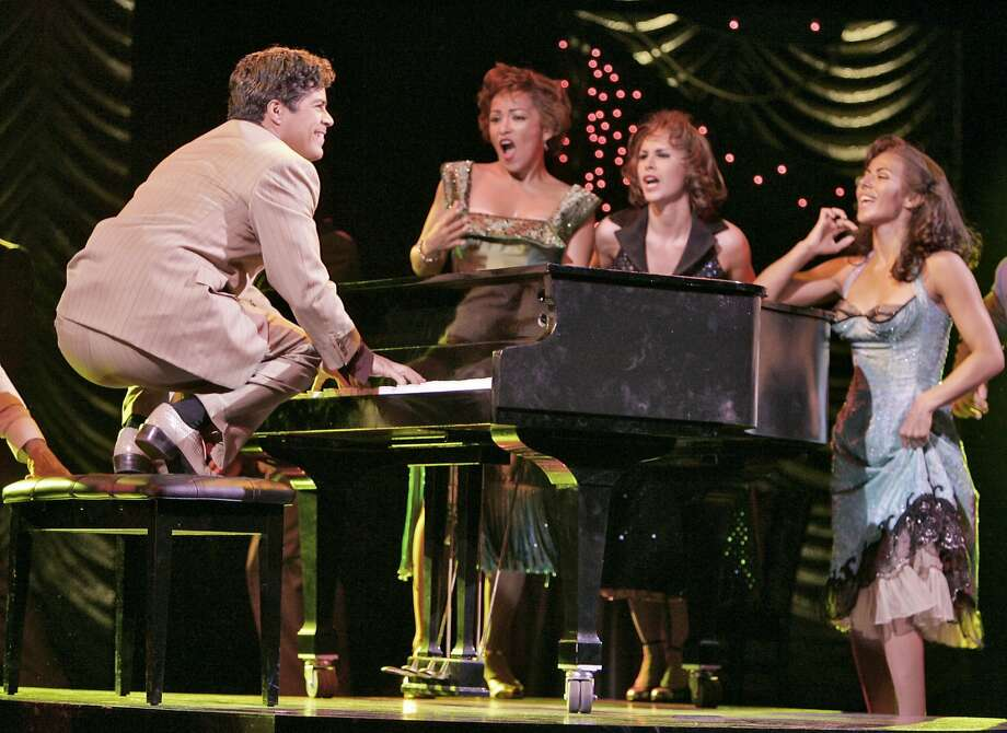 Esai Morales, playing piano as Cesar Castillo, in a scene from the first act.  Final dress rehearsal for The Mambo Kings at the Golden Gate Theatre. Photo: Liz Mangelsdorf, SFC