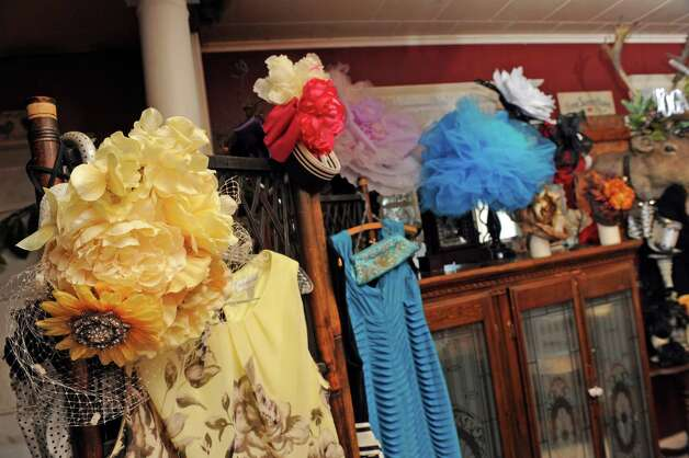 Some of the hats made by British-born Maurita Smith a skill she picked up while recovering from a traumatic injury on Wednesday Aug. 5, 2015 in Fort Johnson, N.Y. (Michael P. Farrell/Times Union) Photo: Michael P. Farrell / 10032863A