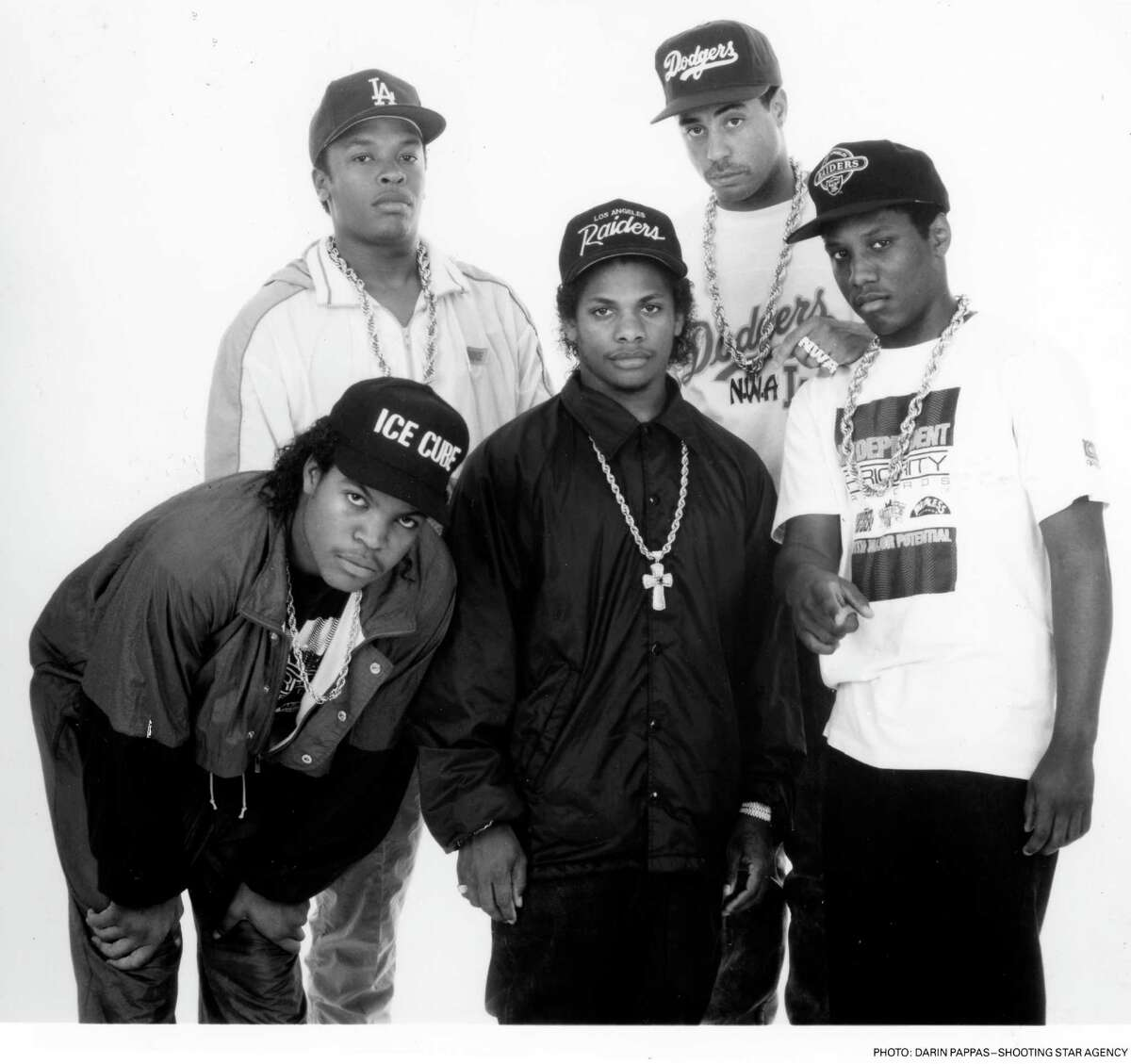 N.W.A. - (L-R) Ice Cube, Dr. Dre, Eazy-E, Yella, M.C. Ren