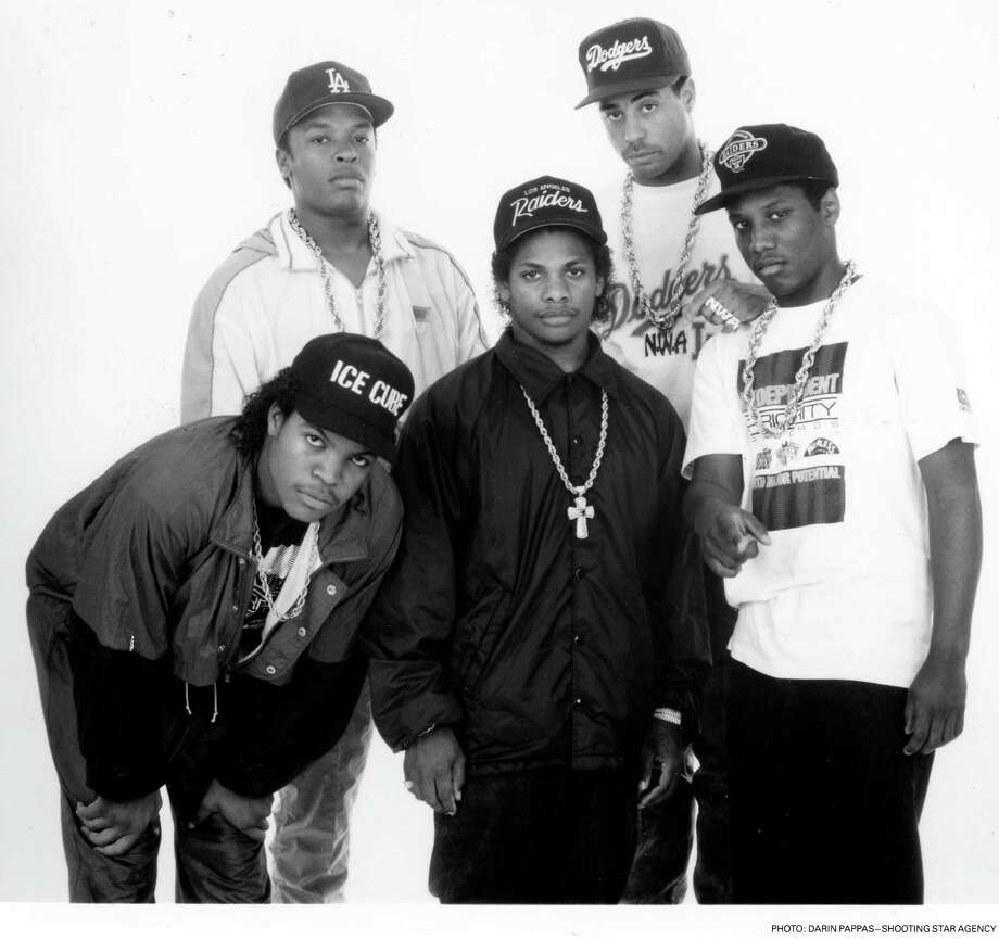 N.W.A. - (L-R)  Ice Cube, Dr. Dre, Eazy-E, Yella, M.C. Ren Photo: Darrin Pappas-Shooting Star, Getty / handout