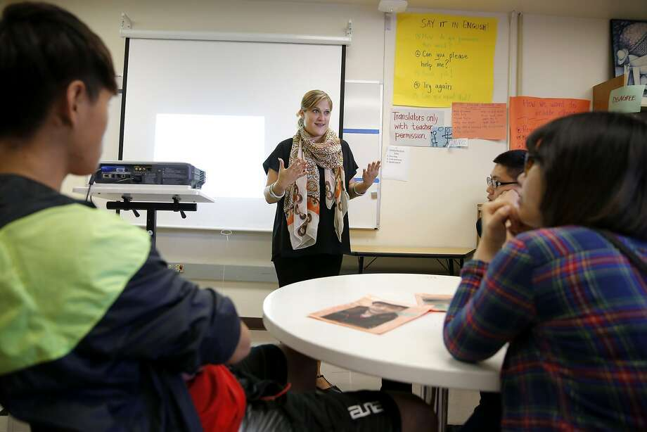 Principal Julie Kessler speaks to aspiring college students at San Francisco International High School in San Francisco. Photo: Connor Radnovich, The Chronicle