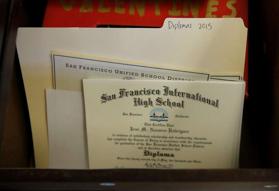 Diplomas for students who didn't pass California's high school exit exam sit in a locked drawer in Principal Julie Kessler's office at San Francisco International High School in San Francisco, California, on Thursday, Aug. 13, 2015. Photo: Connor Radnovich, The Chronicle