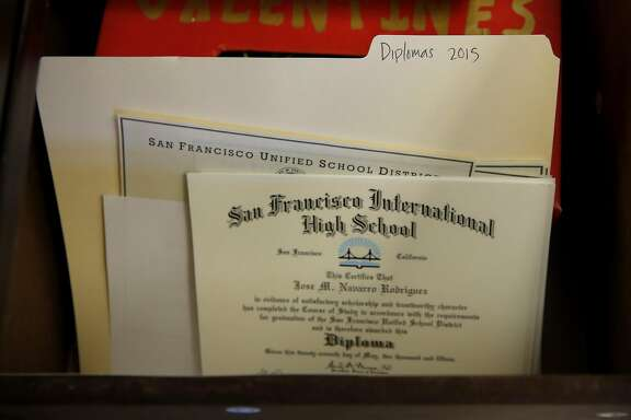 Diplomas for students who didn't pass California's high school exit exam sit in a locked drawer in Principal Julie Kessler's office at San Francisco International High School in San Francisco, California, on Thursday, Aug. 13, 2015.