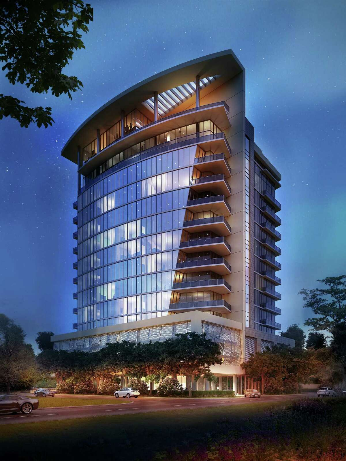 Rendering of Aurora, a 40-unit luxury residential tower proposed in the Galleria area. Philip Johnson/Alan Ritchie Architects designed the building.