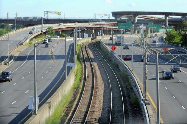 Empty rail tracks between north and south bound 787 traffic on Thursday Aug. 13, 2015 in Albany, N.Y. (Michael P. Farrell/Times Union) Photo: Michael P. Farrell / 00032993A