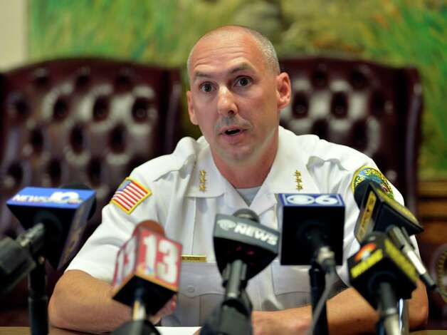 Saratoga Police Chief Greg Veitch takes question after reading a statement in the Rupeka case Thursday morning Aug. 13, 2015 in Saratoga Springs, N.Y.    (Skip Dickstein/Times Union) Photo: SKIP DICKSTEIN